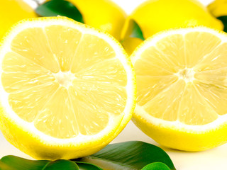 Yellow lemon with fresh green leaves over white background