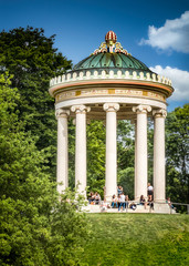 The small temple Monopteros is modeled on Greek temples and is located in the English Garden in Munich, Germany.