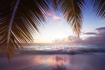 Wall Mural - sunset on Seychelles beach