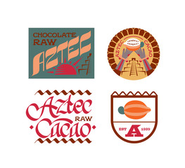 Vector illustration aztec cacao logo collection.