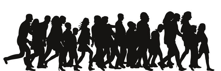Vector silhouette of a crowd of people walking