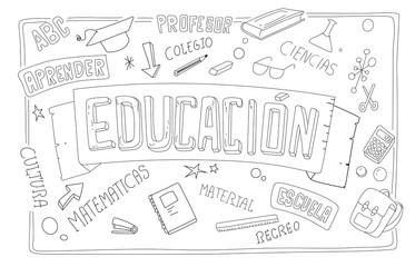 Conceptos de educacion. Textos e iconos sin color en vector