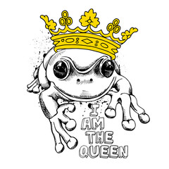 Poster with a picture of frog wearing a yellow crown. Vector illustration.