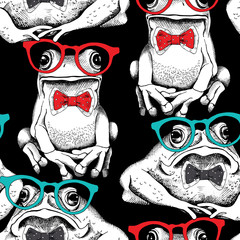Seamless pattern with image of a frogs in glasses and tie. Vector illustration.
