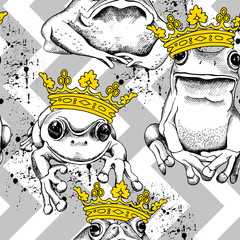 Seamless pattern with frog and toad wearing a yellow crown on a gray geometric ornament. Vector illustration.