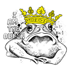 Image frog (toad) with a yellow crown. Vector illustration.