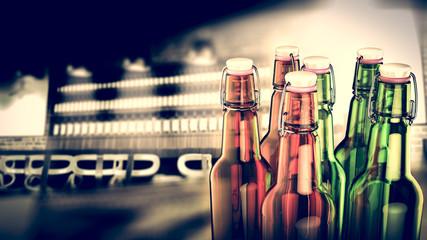 Bottle of beer on bar background.