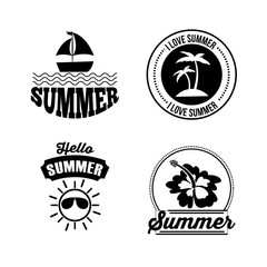 icon set summer flat vector design graphic illustration