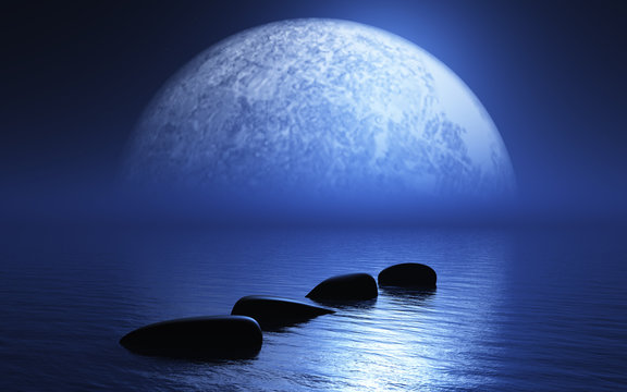 3D stepping stones in ocean with planet