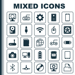 Hardware Icons Set. Collection Of PC, Laptop, Radio Set And Other Elements. Also Includes Symbols Such As Fan, Chip, Bluetooth.