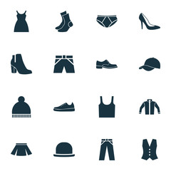 Dress Icons Set. Collection Of Female Winter Shoes, Sneakers, Briefs And Other Elements. Also Includes Symbols Such As Underpants, Cloth, Half-Hose.