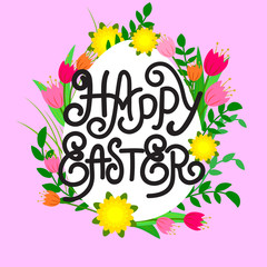 Vector illustration Easter lettering poster with floral elements, decorate text on pink backdrop.