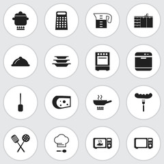 Set Of 16 Editable Kitchen Icons. Includes Symbols Such As Cheddar, Chef Cap, Microwave And More. Can Be Used For Web, Mobile, UI And Infographic Design.
