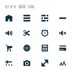 Interface Icons Set. Collection Of Minus, Statistic, Silence And Other Elements. Also Includes Symbols Such As Cut, Cart, Payment.