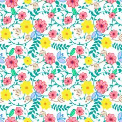 Vector illustration floral seamless pattern.