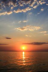 Beautiful sunset on the sea coast