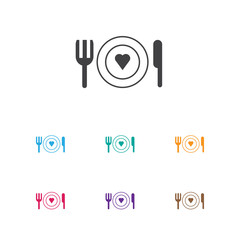 Vector Illustration Of Amour Symbol On Restaurant Icon. Premium Quality Isolated Dishes Element In Trendy Flat Style.