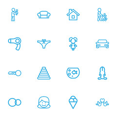 Set Of 16 Editable Relatives Outline Icons. Includes Symbols Such As Grandson, Mother, Canape. Can Be Used For Web, Mobile, UI And Infographic Design.