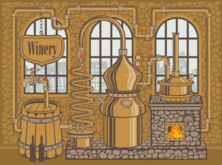 Vector illustration on the theme of the winery. Traditional winery plant for the production of wine in the old stone building in retro style