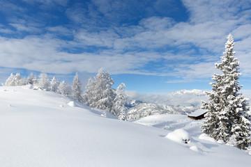 Wall Mural - Verschneite Alpenlandschaft