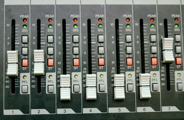 Selective focus professional audio mixing console panel.technology and entertainment concept