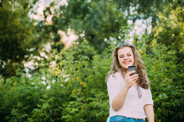 Young Beautiful Pretty Plus Size Caucasian Girl Woman Dressed In White Blouse Enjoying Life, Smiling,