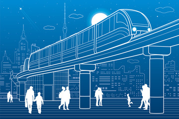 Monorail railway. Train move over the flyover. Modern night city at back. Futuristic urban and transport illustration. Airplane fly. White lines on blue background, vector design art