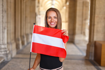 Young woman smile with austrian flag