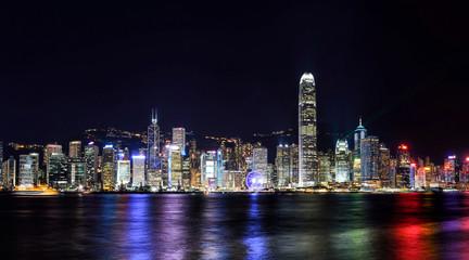 Panorama view of Hong Kong city skyline at night