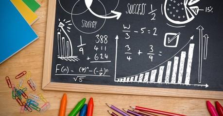 math strategy success text on blackboard