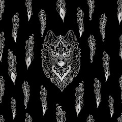 seamless pattern with tribal ethnic wolf