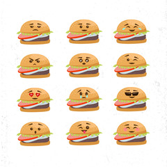 Vector Set Of Different Burger Faces. Smile emoji emoticon face in burger with a lot of variation. Vector emoji burger faces.