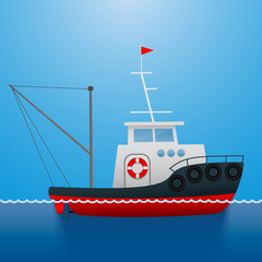 Tugboat. Fisherman ship. Cartoon style. Funny picture. Vector Image.