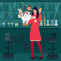Young and cheerful girl in red dress is standing by the bar counter with a raised cocktail glass and making a selfie photo. Fashionable bartender prepares a cocktail