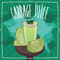 Healthy fresh green cabbage juice in glass on wooden table with ripe vegetables, whole and slices. Nature background. Realistic hand draw style. Lettering Cabbage Juice