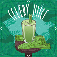 Healthy fresh celery juice in glass on wooden table with vegetable stalks, whole and slices. Nature background. Realistic hand draw style. Lettering Celery Juice
