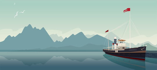 Scenic area with old pleasure boat in style of old steamer, at pier, on clear day. In the background is natural mountain landscape. Realistic flat style