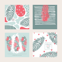 Vector set with decorative set of square cards in pastel colors. Design dedicated to summer, tropics and palm leaves. Place for creative lettering and hand drawn textures