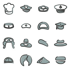 Hat Icons Set 1 Freehand 2 Color