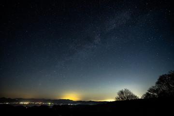 福島県、布引高原からの猪苗代湖と天の川