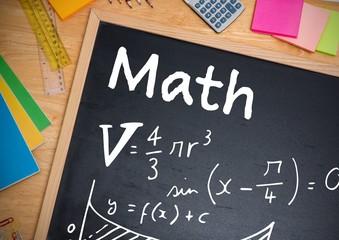 Math equations written on blackboard