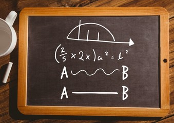 math equations on blackboard with chalk