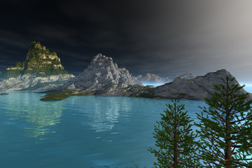 Coniferous trees and blue waters, an alpine landscape, is an afternoon view on the lake.