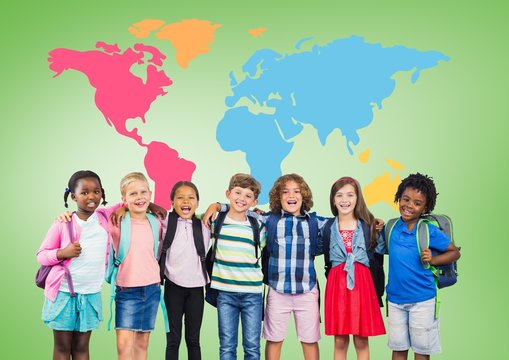 Multicultural School kids  in front of colorful world map