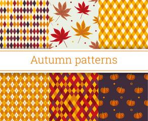 Seamless autumn patterns set vector illustration