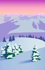 Winter evening landscape with mountains. Vector illustration.
