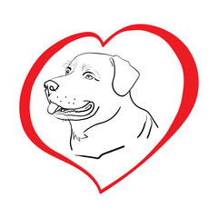 Silhouette of a dog in a red heart. A love for animals. Isolated on white. Illustration.
