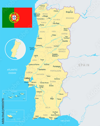 Portugal - map and flag illustration\