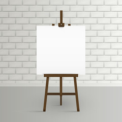 Blank canvas on a artist' easel. Blank art board and wooden ease.l Easel with blank canvas on a brick wall background Vector illustration.