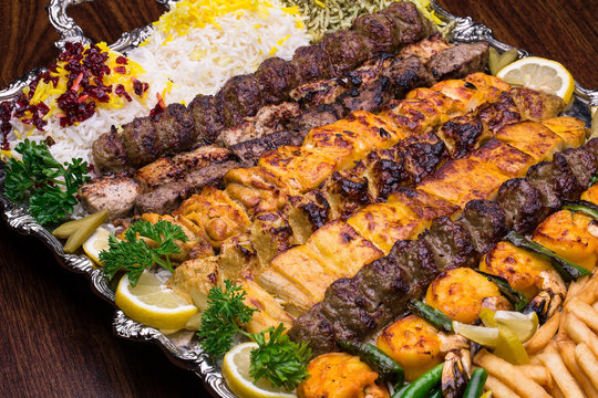 Close up shot of Persian Mix Kebab With Rice